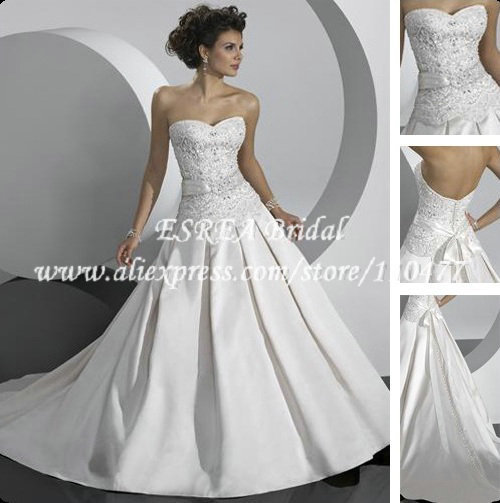 BR494 Classic White Satin Strapless Applqiued Deep Backless Wedding Dress
