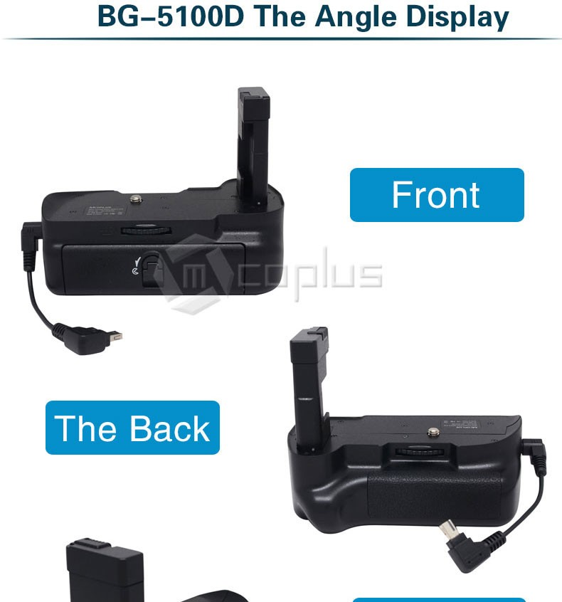 Mcoplus BG-D5100 אנכי אחיזת סוללה בעל Pack עבור ניקון DSLR D5100 מצלמה כמו Meike MK-D5100