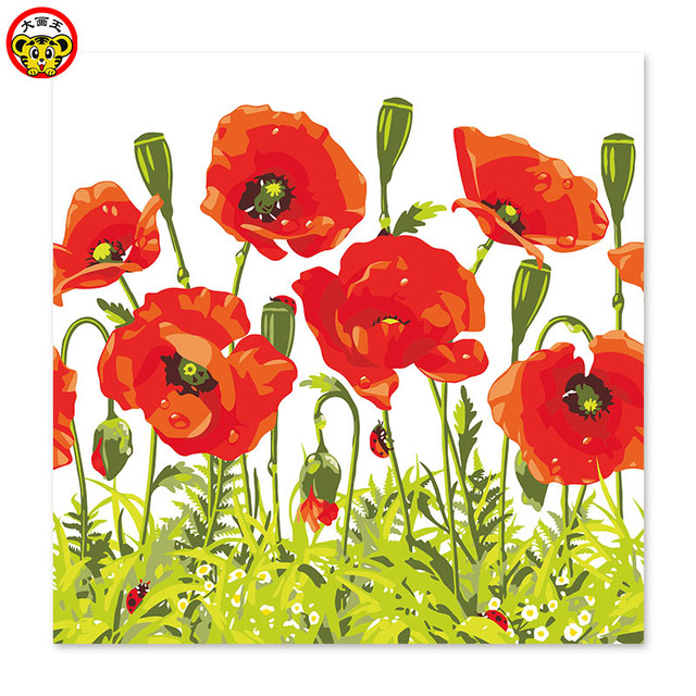 Coquelicot Red Poppy Flowers Draw On Canvas Digital Painting Famous
