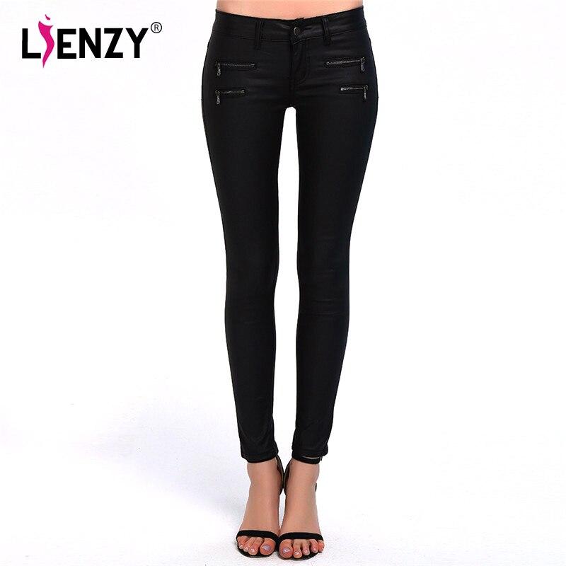 Black Leather Pants 2016 New Women&#8217;s Fashion Low Waist Slim Black <font><b>Lederhosen</b></font> Long Pants