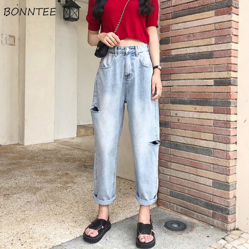 Jeans Women Spring Summer Trendy Korean Style Simple All-match Streetwear High Waist Soft Womens Trousers Chic Casual Loose Thin