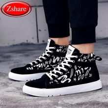 Fashion Graffiti Men Casual Shoes Hip-hop High Help Men Shoes 2019 New Lace-Up Casual Ankle Boots Flock Flat Canvas Male Shoes fashion hip hop graffiti canvas shoes rock women girls casual shoes 2018 new woman printed flat shoes