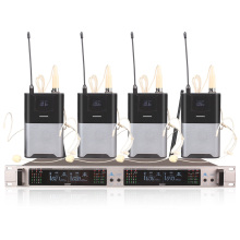 Professional Wireless Microphone System 403GT 4-Channel UHF Dynamic 4 Headphones Collar Line Conference