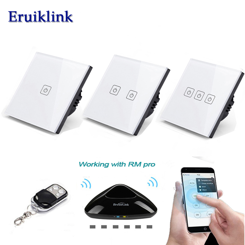 EU/UK Standard Eruiklink 1/2/3 Gang Sans Fil À Distance Des Interrupteurs de Commande, maison intelligente RF433 Télécommande Mur Tactile Commutateur