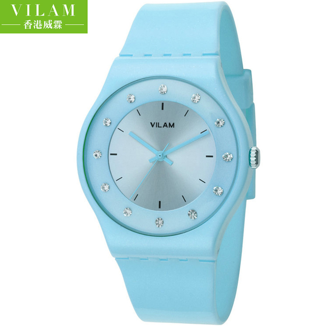 Watch Womens VILAM brand Fashion Soft Silicone Quartz Watch Wristwatches for Ladies clock Lovers Diamond Crystal watches 13018