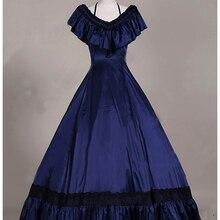 Новейшая темно-синяя сатиновая длинная юбка в викторианском стиле платья принцесса Титаник чай вечерние бальные платья костюмы на Хэллоуин