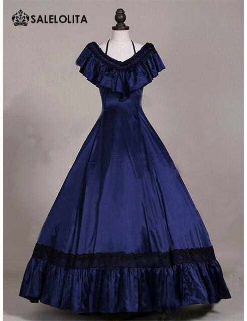 Newest Dark Blue Satins Victorian Edwardian Dresses Princess Titanic ...