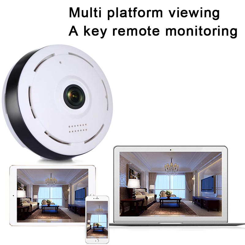 360 Degree Panoramic Wide Angle Lens CCTV Wifi Camera Smart IPC Wireless Fisheye IP Camera P2P 960P HD LCC77 erasmart hd 960p p2p network wireless 360 panoramic fisheye digital zoom camera white