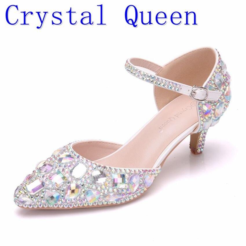Crystal Queen Women Wedding Sandals Summer Rhinestone High Heels Sandals Party Pump Mary Janes Ladies Shoes Plus Size Women Shoe