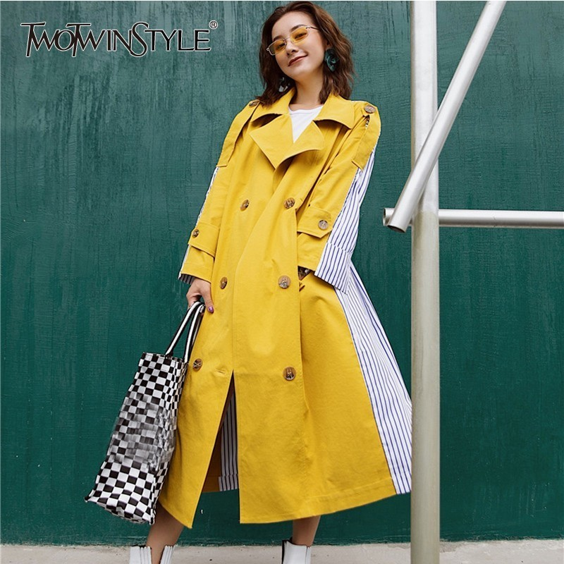 TWOTWINSTYLE Patchwork Striped Windbreaker Coat Female Long Sleeve Lace up Trench Overcoat Women Casual Clothes 2019