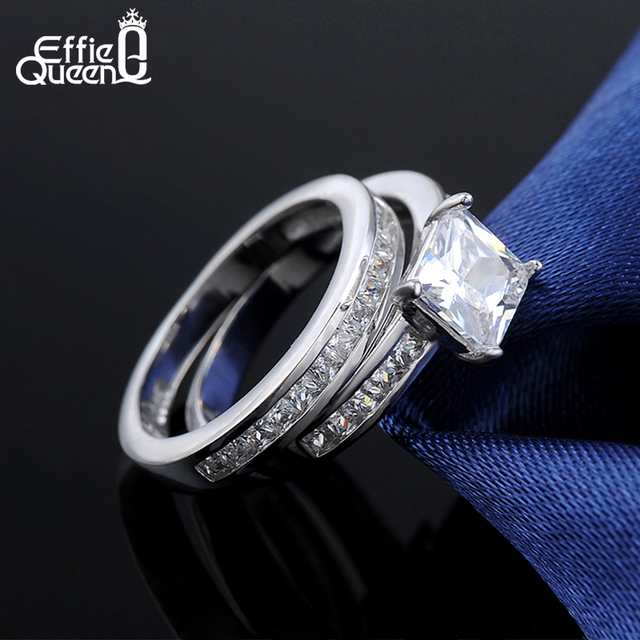 Effie Queen 2 Piece/Set Wedding Bands Finger Ring 0.8 ct Princess Cut Cubic Zircon Women Ring Set 3 Wearing Design Fashion DR28