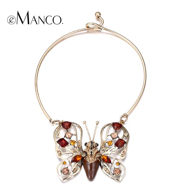 E-manco mariposa de la aleación de oro plateado torques collar collar de cristal animal rhinestone insectos collares para las mujeres bisuteria mujer
