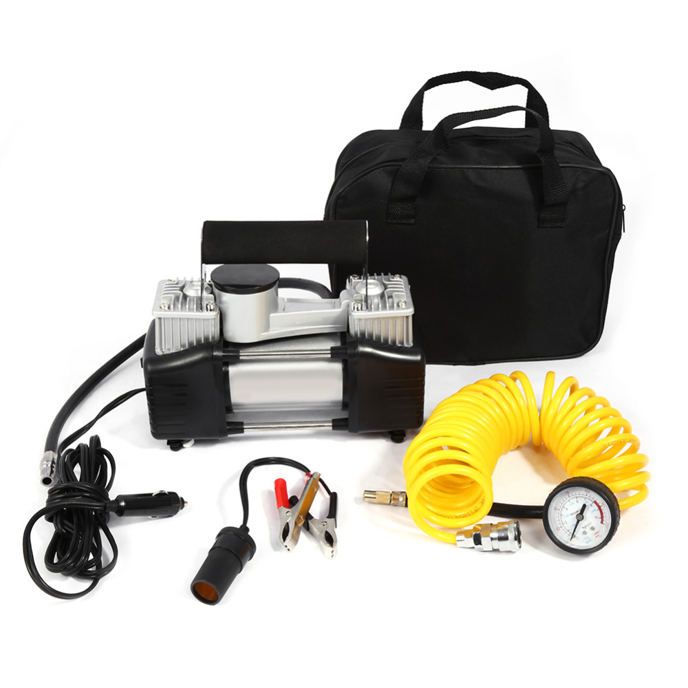 Durable Heavy Duty DC 12V 150 PSI Double Cylinder Air Compressor Pump Electric Car Tyre Inflator Kits For Car Emergency