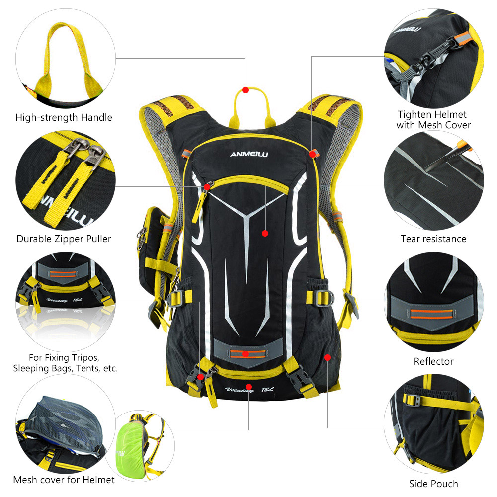 155f580021 ANMEILU Sport Climbing Bags Ultralight Mountain Bicycle Bike Hiking Pouch +  Rain Cover Set