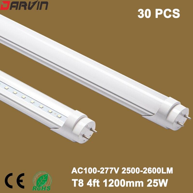 Led Tube Light 4ft 1200mm 25W Fluorescent Tube 30 Packs/Lot t8 led tube lamp 120cm  110v 220v daylight 6500K Warm White /White