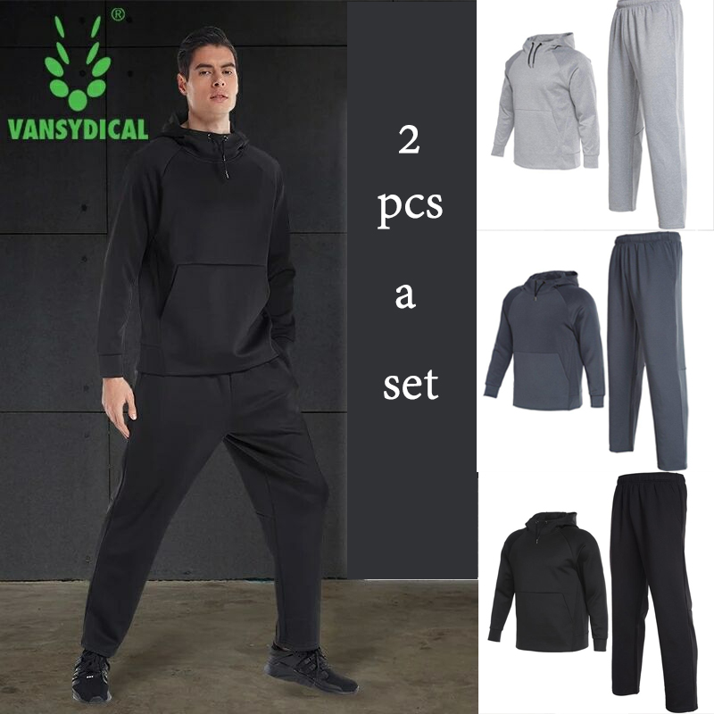 Vansydical 2018 winter Sportswear Men's Sports Suits Fitness Running sport sets Breathable Training Jogging Suits Clothes