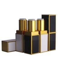 10 20 50pcs Top Grade Black White Square Lipstick Tube With Gold Line Metal Lip Balm