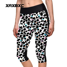 New 1106 Sexy Girl Women scrawl Bird leopard 3D Prints Workout stretchy Fitness elastic Cropped Trousers