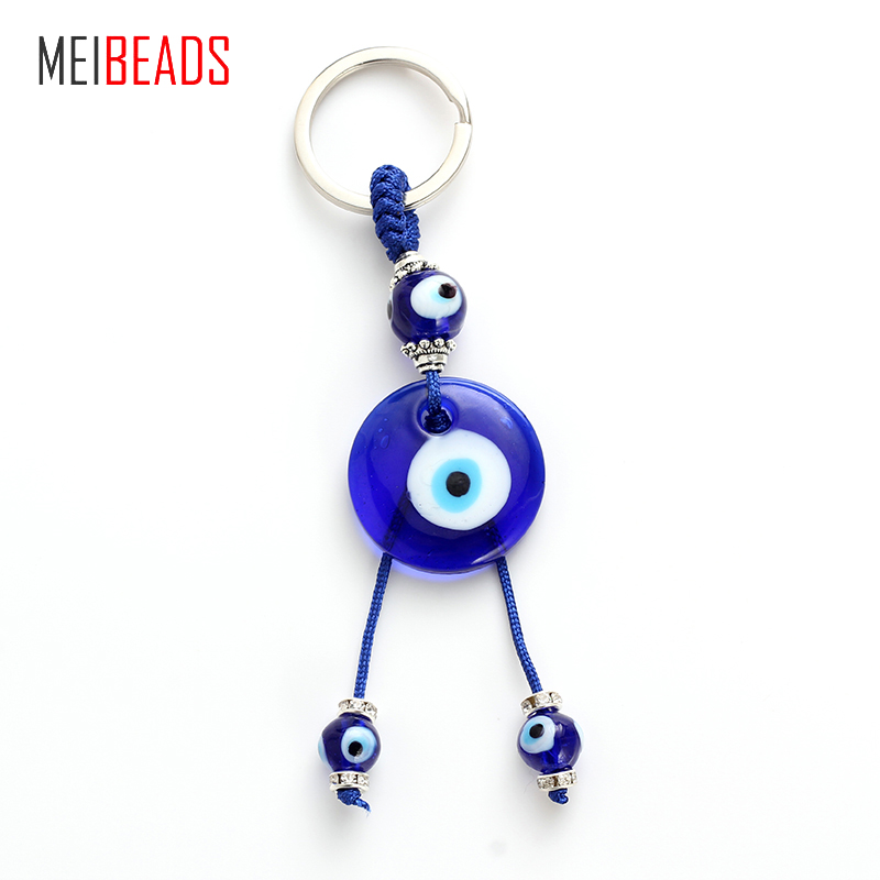 Key Chains Beautiful Meibeads Blue Evil Eye Blue Round Glass Eye For Key Decoration Pendants Fashion Accessories Creative Novelty Gifts Ey4716