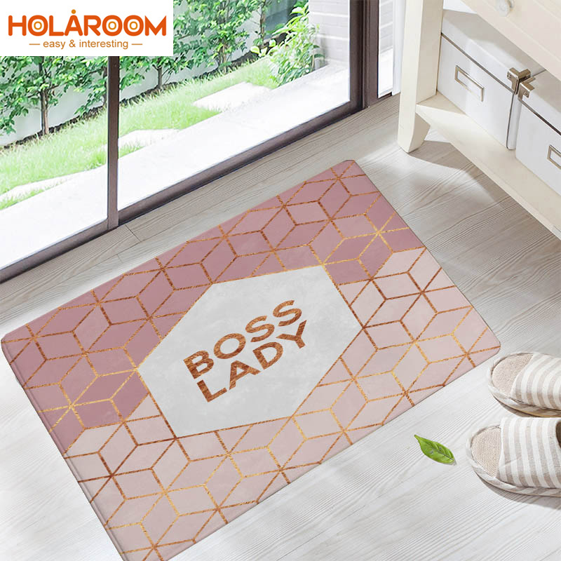Welcome Home Door Floor Decor Hallway Carpets Colored Funny Letters Geometric Hive Diamond Pattern Finished Carpet Printed Mats