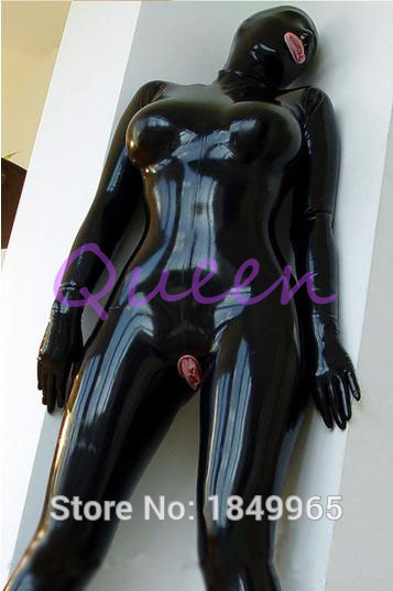 Latex Catsuit Women Full Cover Latex Bodysuit Open Mouth -4622