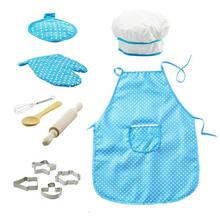 Kids Cooking and Baking Set 11pcs Kitchen Costume Role Play Kits Apron Hat Funny Toy for Children Toddler Pretend Toys