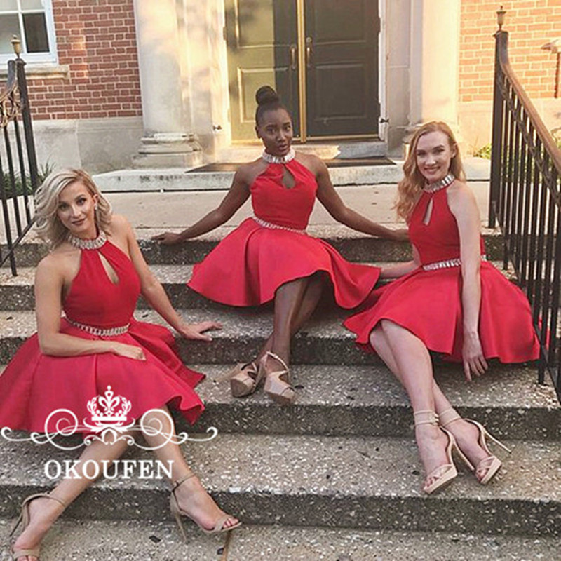 Fashionable Keyhole Neck Short Red   Bridesmaid     Dresses   Beads Rhinestone 2019 A Line Sleeveless Homecoming   Dress   Party Formal Gown