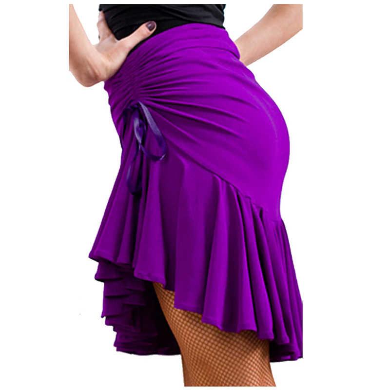 Damska Latin Salsa Tango Rumba Cha Cha sukienka do tańca towarzyskiego spódnica czarny fioletowy plac taniec Latin Dancewear dla kobiet/dziewcząt