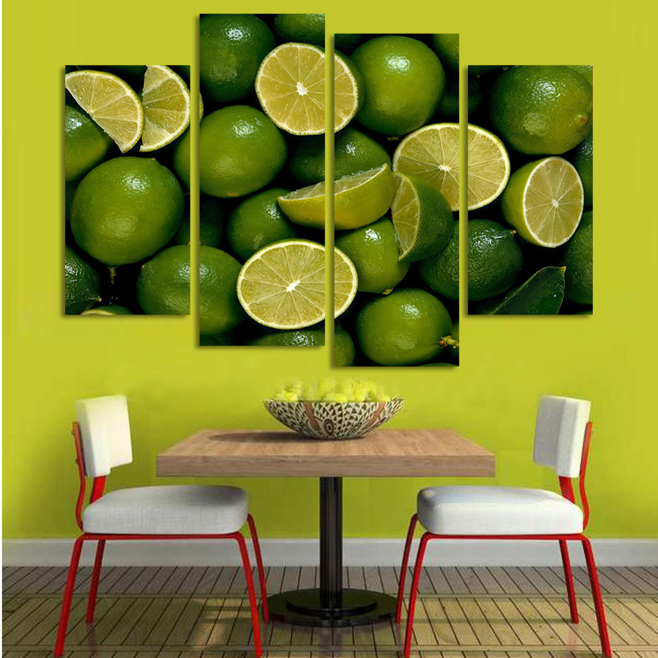 4 Panels Canvas Green Lemon Painting On Canvas Wall Art Picture Home ...