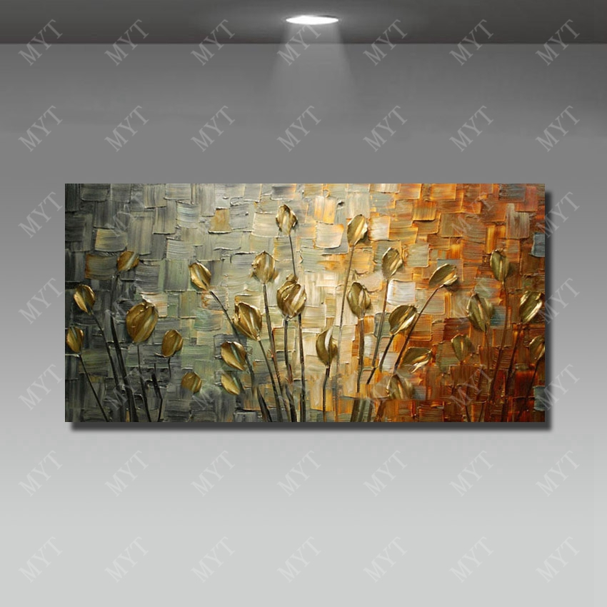 Handmade Art Painting Abstract Platte Knife Flower Canvas Fabric