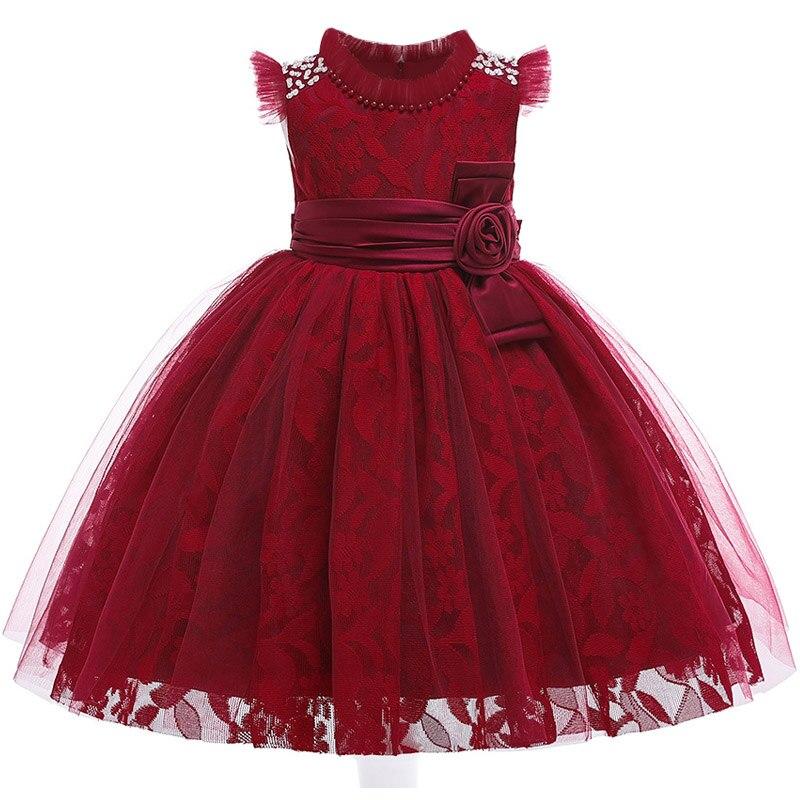 Новинка; стильное платье на бретельках с одним персонажем для свадебной вечеринки для девочек; бальное платье с бантом и жемчужинами и цветами для банкета; vestidos - Цвет: wine red