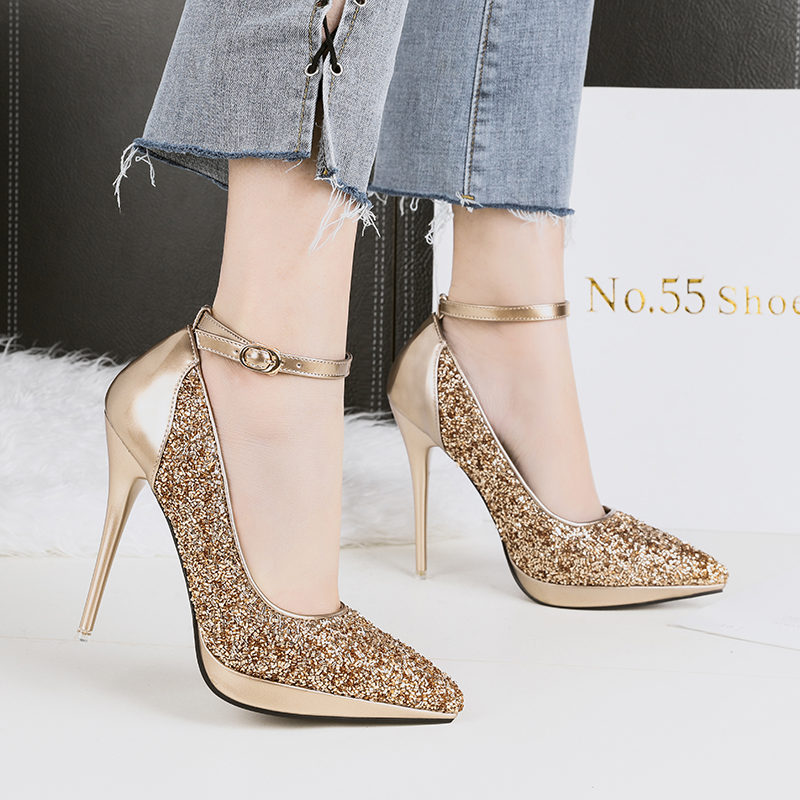 127ea8e83f US $22.99 |2018 Women Luxury Extreme High Heels Female Stiletto Gold Sliver  Party Heels Glitter Strap Valentine Talons Pumps Sequins Shoes-in Women's  ...