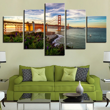 Modular Posters Wall Art Canvas HD Prints Pictures Home Decor Living Room 5 Pieces Golden Gate Bridge Paintings Framework