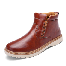 men's Motorcycle Ankle Boots Genuine Leather Spring Autumn 2016 Casual Shoes For man Military botas Vintage High Top