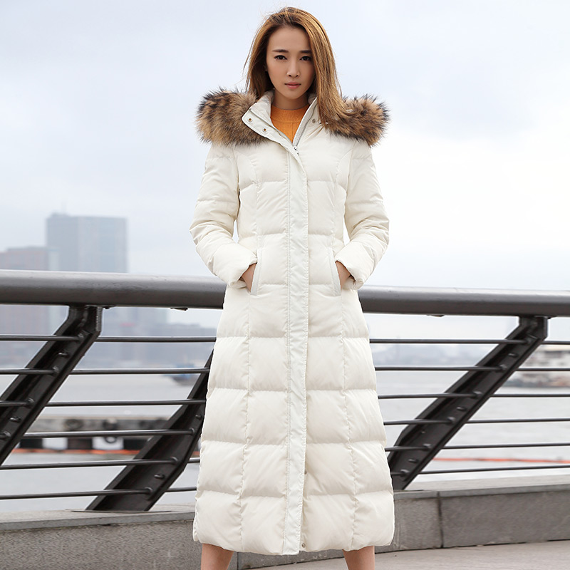 2018 New Autumn Winter Fashion Fur Collar White Duck   Down     Coat   Women Elegant Hooded   Down   X- Long Jacket Windproof Outwears Mw462