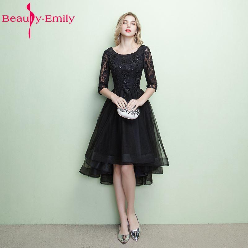 Beauty-Emily Asymmetrical Black   Bridesmaid     Dresses   2017 Three Quarter Lace Backless Vestidos de noite Party Prom   Dresses