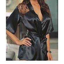 Deluxe Black Robe and G-String LC21747 camisa polo feminina Sexy Lingerie Sex Products Pajamas for Women