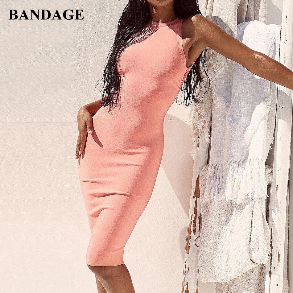 BANDAGE Midi femmes Bandage fête Boutiques été robe mode solide dos nu sans manches moulante robe Vestidos nouveau Chic