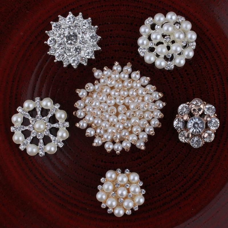 120PCS Handmade Vintage Metal Decorative Buttons Crystal Pearl Flower Center Alloy Flatback Rhinestone Buttons Craft Supplies
