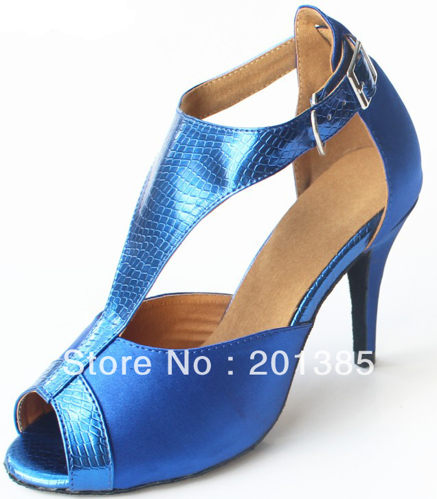 Wholesale Blue Satin Snakeskin Print T-Straps Shoes for Ballroom Dancing Salsa Ballroom Shoes Size 35,36,37,38,39,40,41