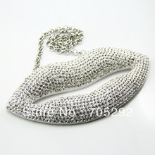 Huge Lip Pendants Hip Hop Jewelry Necklace Clear color