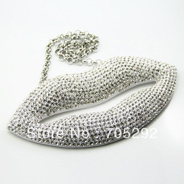 Huge Lip font b Pendants b font Hip Hop Jewelry font b Necklace b font Clear