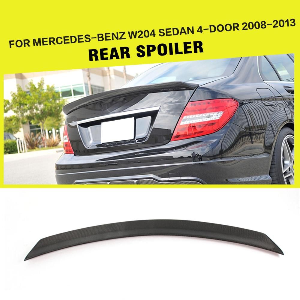 Carbon Fiber Rear Trunk Spoiler Wing for Mercedes-Benz C-Class W204 C180 C200 C250 C300 C63 AMG Sedan 4-Door 2008-2014 yandex mercedes x156 bumper canards carbon fiber splitter lip for benz gla class x156 with amg package 2015 present