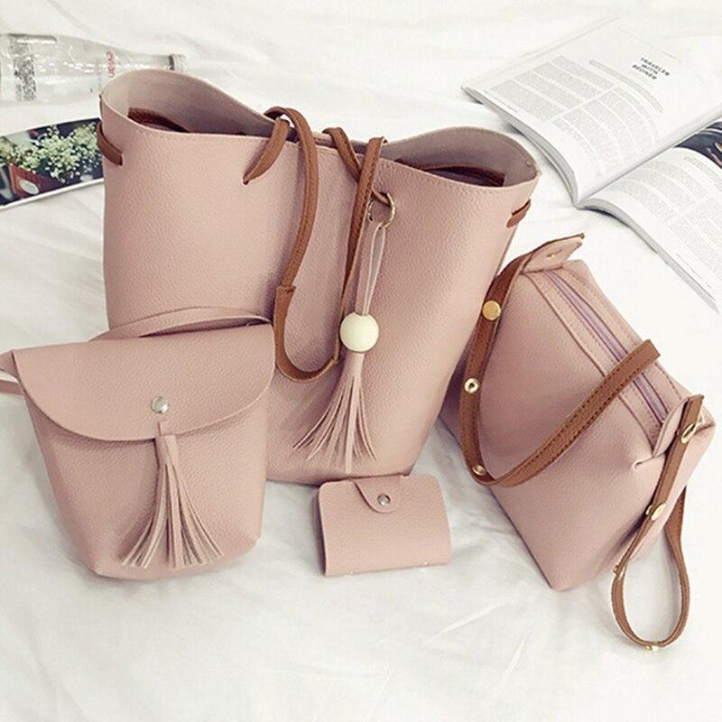 4pc/Set Women Crossbody Bag Purse Wallet Leather Composite Bag Messenger Clutch Wallet Card Holder Handbag Big Shoulder Bag Tote