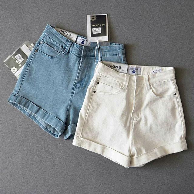 2016 summer new European style street solid color high waist stretch denim shorts leisure wild was thin denim shorts female