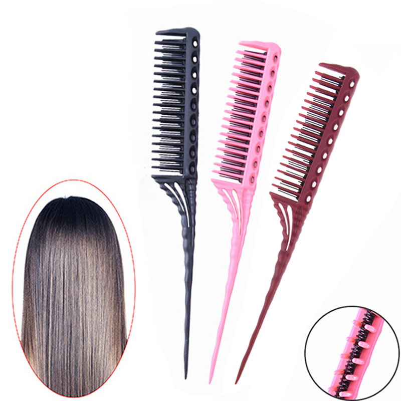 3-Row Teeth Teasing Comb Detangling Brush Tail Comb Adding Volume Back Coming Hairdressing Combs Hairbrush 3 Colors