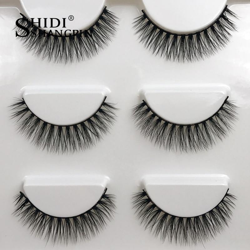 3 Pairs 3d Mink Lashes Extension Strip False Eyelashes Makeup