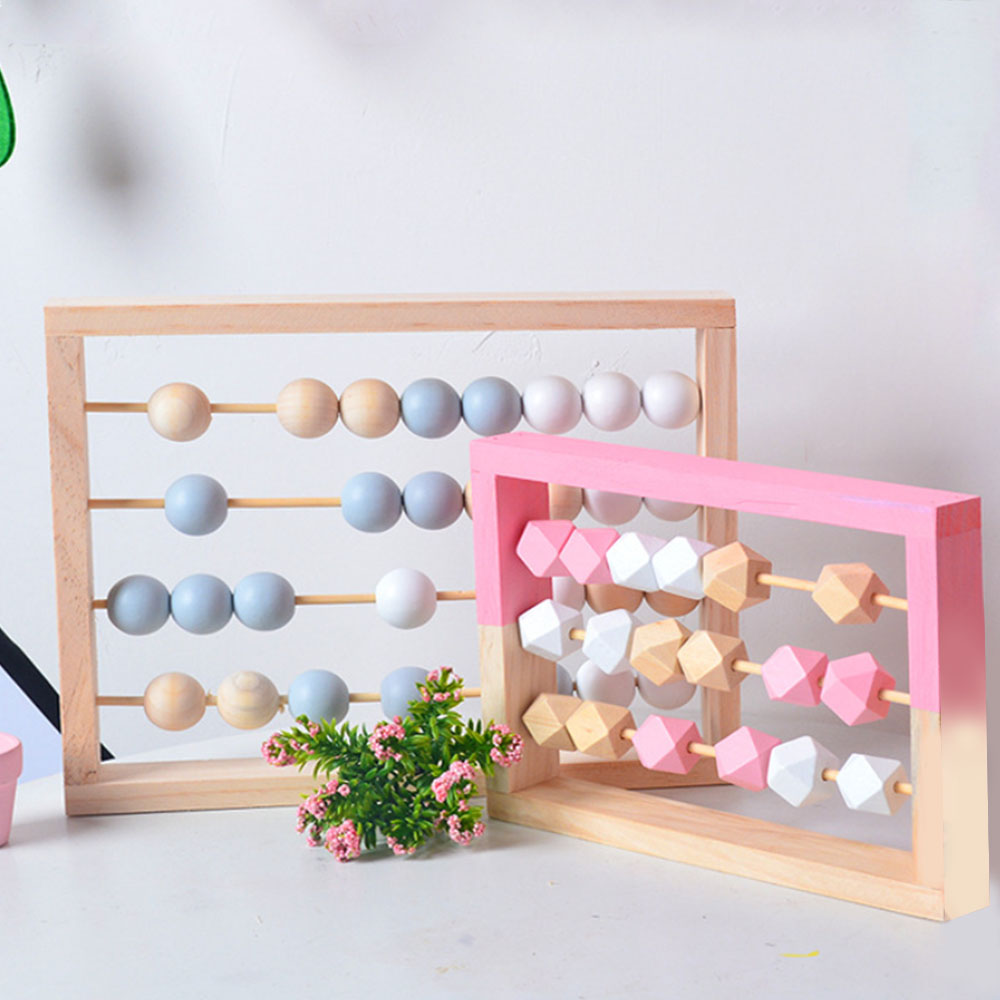 New Children Wooden Geometry Beads 3-5 Rows Abacus Educational Toy Kids Early Learning Educational Toy