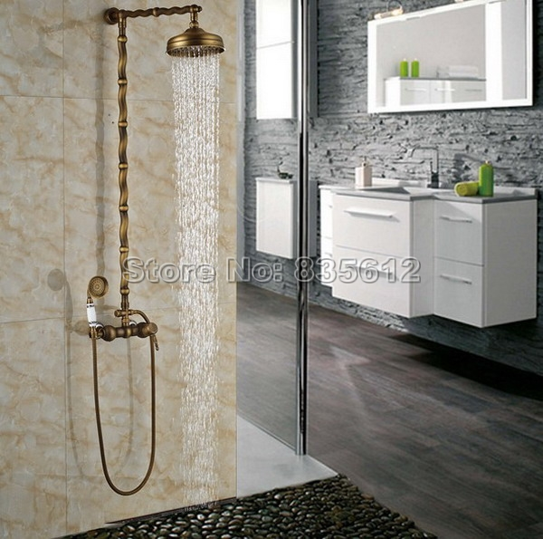 New Arrivals Antique Brass Porcelain Base Wall Mounted Bathroom ...