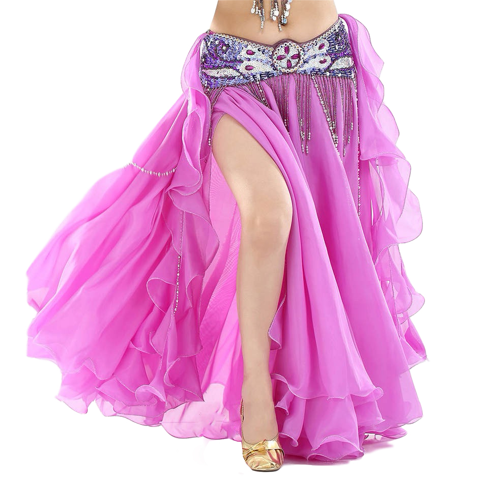 13 Colors Women Belly Dance Clothes Full Circle Maxi Skirts Side Split Ruffle Fringe Belly Dance Skirts (without Belt)